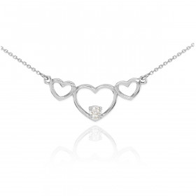 CZ Triple Heart Pendant Necklace in 9ct White Gold