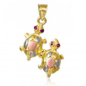 CZ Turtle Charm Pendant Necklace in 9ct Three-Tone Gold