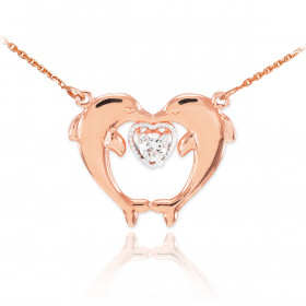 CZ Two Dolphins Pendant Necklace in 9ct Rose Gold