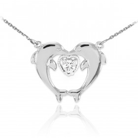 CZ Two Dolphins Pendant Necklace in Sterling Silver