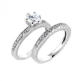 CZ Two-Piece Matching Engagement Rings Set in 9ct White Gold