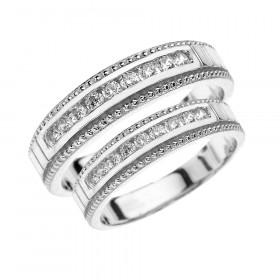 CZ Two-Piece Matching Wedding Rings Set in 9ct White Gold