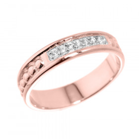 CZ Unisex Wedding Ring in 9ct Rose Gold