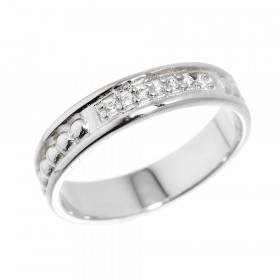 CZ Unisex Wedding Ring in Sterling Silver