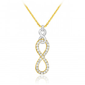 CZ Vertical Infinity Pendant Necklace in 9ct Two-Tone Gold