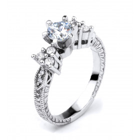 CZ Vintage Engagement Ring in Sterling Silver