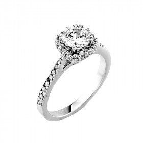 CZ Vintage Engagement Ring in 9ct White Gold