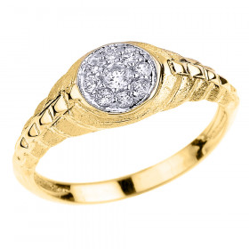 CZ Watchband Design Studded Unisex Vintage Engagement Ring in 9ct Gold