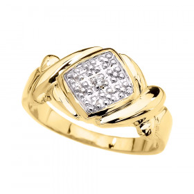 CZ XOXO Hugs and Kisses Unisex Ring in 9ct Gold