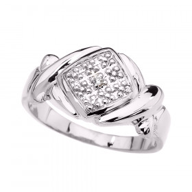 CZ XOXO Hugs and Kisses Unisex Ring in 9ct White Gold