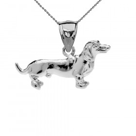 Dachshund Pendant Necklace in Sterling Silver