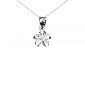 0.1ct Delicate Hawaiian Plumeria Charm Pendant Necklace in 9ct White Gold