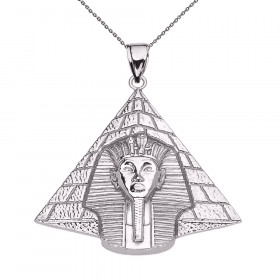 Detailed Egyptian King Tut Pendant Necklace in 9ct White Gold