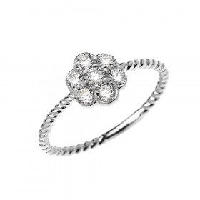Diamond 7-Stone Cluster Flower Rope Twisted Rope Ring in 9ct White Gold
