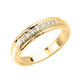 0.12ct Diamond Accent Half Eternity Wedding Ring in 9ct Gold