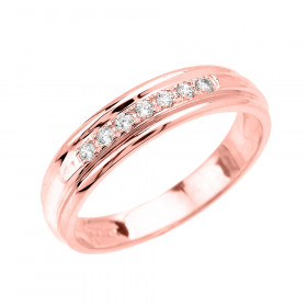 0.12ct Diamond Accent Half Eternity Wedding Ring in 9ct Rose Gold