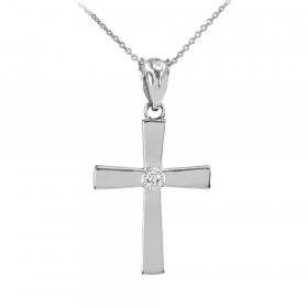 0.019ct Diamond Accented Cross Pendant Necklace in 9ct White Gold
