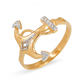 Diamond Anchor Ring in 9ct Two-Tone Gold