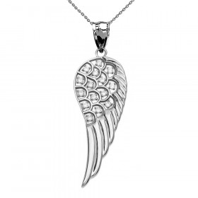 Diamond Angel Wing Pendant Necklace in 9ct White Gold