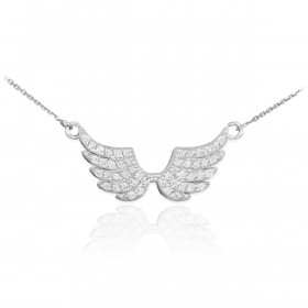 Diamond Angel Wings Pendant Necklace in 9ct White Gold