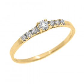 0.07ct Diamond Band Engagement Ring in 9ct Gold
