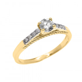 0.25ct Diamond Band Engagement Ring in 9ct Gold