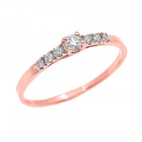 0.07ct Diamond Band Engagement Ring in 9ct Rose Gold
