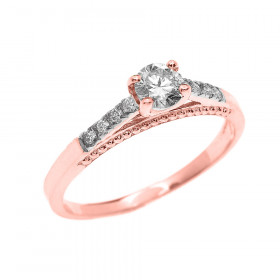0.25ct Diamond Band Engagement Ring in 9ct Rose Gold