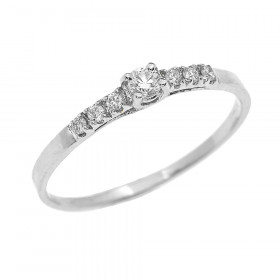 0.07ct Diamond Band Engagement Ring in 9ct White Gold
