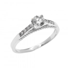 0.25ct Diamond Band Engagement Ring in 9ct White Gold