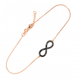 Diamond and Black Diamond Infinity Bracelet in 9ct Rose Gold
