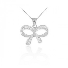 Diamond Bow Pendant Necklace in 9ct White Gold