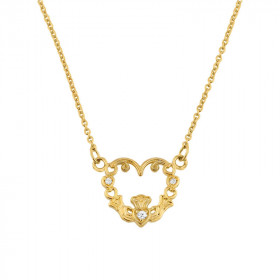 0.04ct Diamond Claddagh Pendant Necklace in 9ct Gold