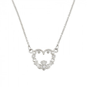 0.04ct Diamond Claddagh Pendant Necklace in 9ct White Gold