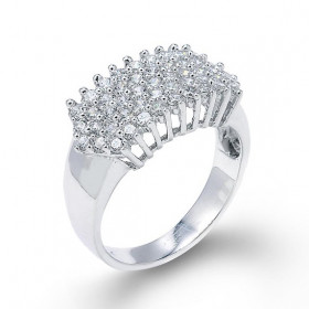 Diamond Cluster Prong Engagement Ring in 9ct White Gold