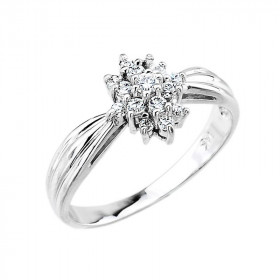 0.3ct Diamond Cocktail Vintage Engagement Ring in 9ct White Gold