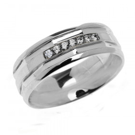 0.12ct Diamond Comfort Fit Modern Wedding Ring in Sterling Silver