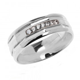 0.12ct Diamond Comfort Fit Modern Wedding Ring in 9ct White Gold