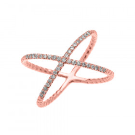 0.15ct Diamond Criss Cross Rope Design Twisted Rope Ring in 9ct Rose Gold