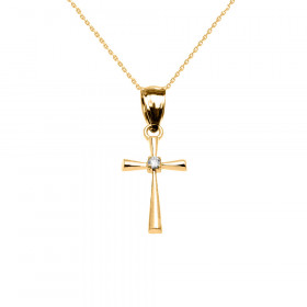 0.013ct Diamond Cross Pendant Necklace in 9ct Gold