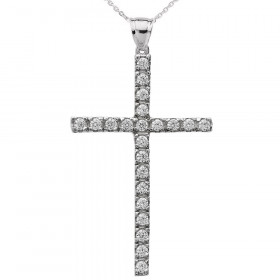 0.44ct Diamond Cross Pendant Necklace in 9ct White Gold