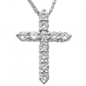 0.77ct Diamond Cross Pendant Necklace in 9ct White Gold