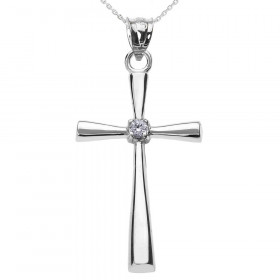 0.02ct Diamond Cross Pendant Necklace in 9ct White Gold