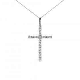 0.15ct Diamond Cross Pendant Necklace in 9ct White Gold