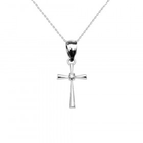 0.013ct Diamond Cross Pendant Necklace in 9ct White Gold