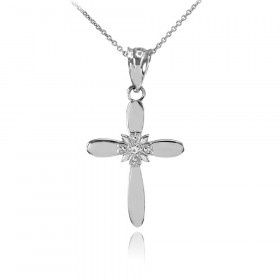 0.005ct Diamond Cross Pendant Necklace in 9ct White Gold