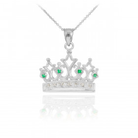 Diamond Crown Pendant Necklace in 9ct White Gold