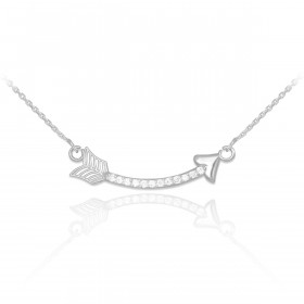 Diamond Curved Arrow Pendant Necklace in 9ct White Gold