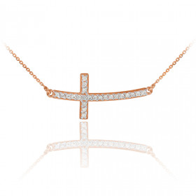 Diamond Curved Cross Pendant Necklace in 9ct Rose Gold