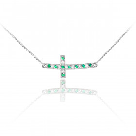 Diamond Curved Cross Pendant Necklace in 9ct White Gold